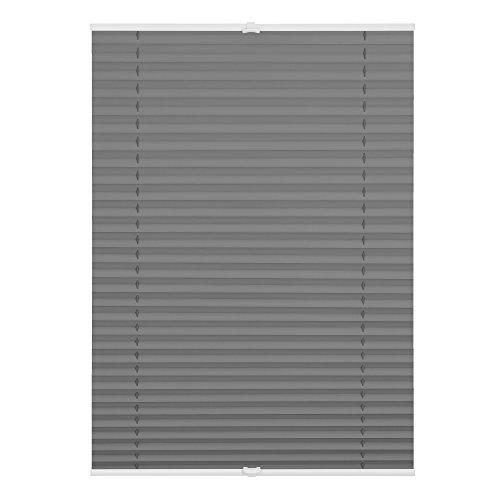Lichtblick Thermo-Plissee Klemmfix, 100 cm x 130 cm (B x L) in Grau, ohne Bohren, reflektierende Thermofunktion, Verdunklung Fenster & Türen