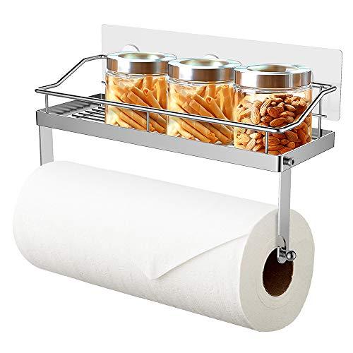 Oriware küchenrollenhalter mit Regal Wand Küchenrollenspender Küchenpapierhalter Papierrollenhalter Badezimmer Aufbewahrung Ohne Bohren - Edelstahl Matt