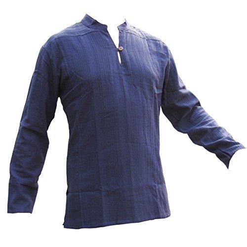 PANASIAM Fisherman Hemd, aus 100% echter freshrunk Baumwolle, blau, XL, langarm