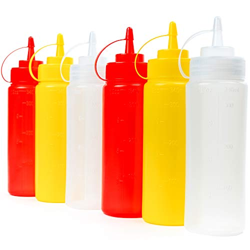 6 Stück Squeeze Flasche mit Kappe, Saucenflasche Quetschflasche, Farbig (340 ml) - Auslaufsicher & 100% BPA Frei - Plastikflaschen Gewürzspender für Condiment Sauce Dressings Senf Ketchup Öle.
