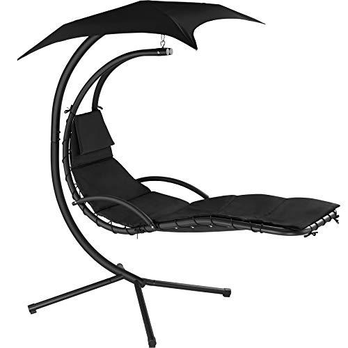 TecTake 800699 Hängeliege mit Gestell und Sonnendach mit UV Schutz, 195 x 118 x 202 cm, ergonomisch geformte Liegefläche, inkl. Sitz- und Kopfpolster - Diverse Farben - (Schwarz | Nr. 403074)