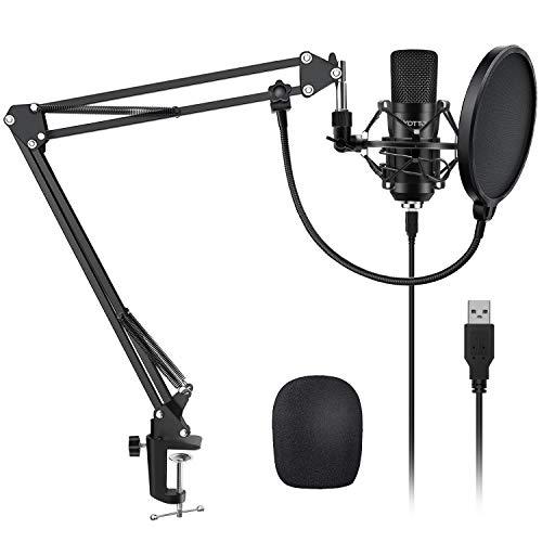 YOTTO Professioneller USB Kondensator Mikrofon Kit 192kHZ / 24bit PC Laptop Mikrofon mit Mikrofonständer Mikrofonarm Popschutz für Aufnahmen, Podcast, Rundfunk