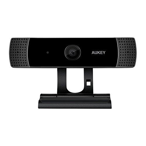 AUKEY Webcam 1080P Full HD mit Stereo Mikrofon, Web Kamera zum Video-Chatten und Aufnahmen, Kompatibel mit Windows, Mac und Android