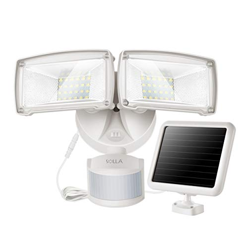 950LM Bewegung Sensor Solar Sicherheitslicht, 5000K Tageslicht, Doppelkopf Multi-Winkel justierbar, kompaktes modisches Design für Garage, Garten, unzureichender Sonnenschein