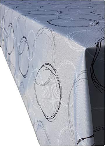 Valia Home Tischdecke Tischtuch Tafeldecke schmutzabweisend wasserabweisend Lotuseffekt pflegeleicht eckig in verschiedenen Größen und Designs (Kreis, 130 x 160 cm)
