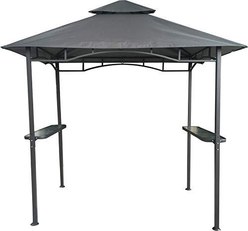 habeig Grillpavillon Wasserdicht 310g/m² PVC Dach Pavillon 250x150 cm mit Ablage Gartenlaube Gartenpavillon BBQ (Anthrazit 27-A)