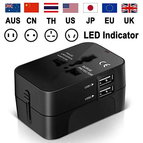 Universal Reiseadapter Weltweit Stromadapter Stecker für USA Europa UK Thailand Australien China - Universeller Weltreise Reisestecker Travel Adapter Steckdose mit USB ladestecker SCHWARZ