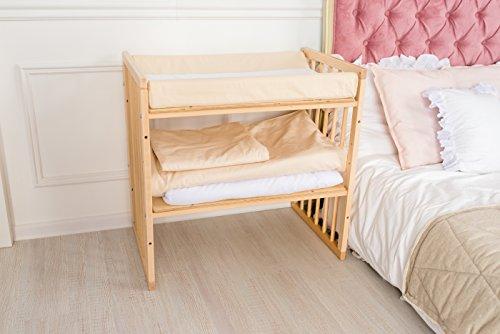 ComfortBaby Wickelauflage Wickelmulde 50 x 70 cm passend zum SmartGrow 7in1 Babybett (WeissMitGrauenSternen)