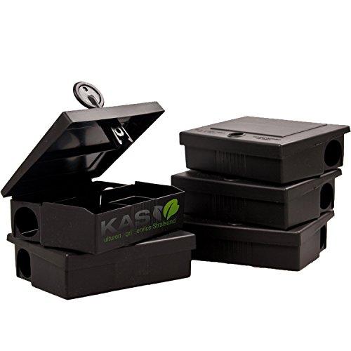 KAS - Köderbox für Mäuse - Mäuseköderbox Mäusefalle Köder Mäusegift (5, Schwarz)