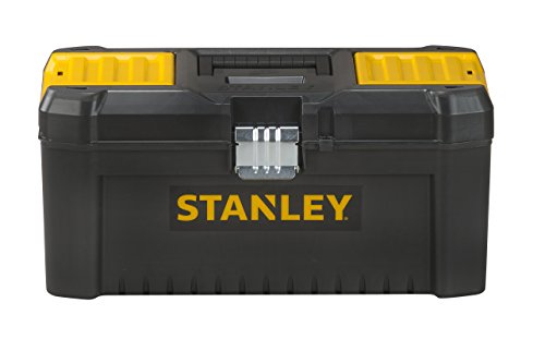 Stanley Werkzeugbox / Werkzeugkasten (16', 20x19,5x41cm, Werkzeugkoffer mit Metallschließen, stabiler Organizer aus Kunststoff für diverse Werkzeuge, Koffer mit entnehmbarer Trage) STST1-75518