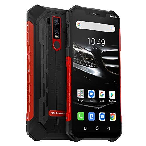 Outdoor Handy 2019, Ulefone Armor 6E Android 9.0 4GB RAM 64GB Speicher IP68 Smartphone Qi fähig NFC mit Wasserdicht Kamera, Dual SIM Global 4G LTE IP69K, 6,2 Zoll FHD+ Display, Rot