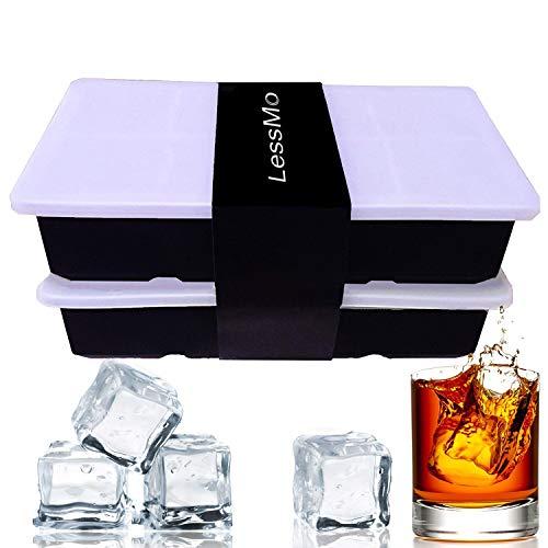 LessMo Eiswürfelform, 2er Pack XXL Silikon Eiswürfelbehälter mit Deckel, BPA-Frei Für 16 Große Eiswürfel (5cm) [Updated]