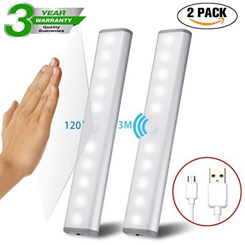 2PC LED Bewegungsmelder Schrankleuchten, Kleiderschrank Lampen Unterbauleiste Beleuchtung Küchenlampen, Schrankbeleuchtung Kabinett Nachtlicht Lichtleisten Spiegelschrank für Innen außen Schrank Küche