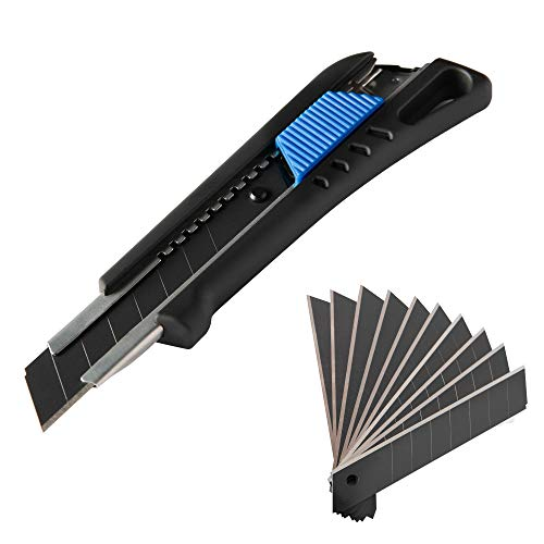 NAROT Cuttermesser inkl. 13 Profi Klingen - Teppichmesser mit Magazin und gummiertem Griff | Profi Cutter 18mm