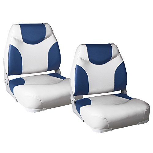 [pro.tec] 2x Bootssitze 'Exclusive - Line' (blau - weiss) im Sparpaket - aus wasserfestem Kunstleder / Steuerstuhl / wasserfest / gepolstert / Kapitänsstuhl / Angelsitz / UV- beständig