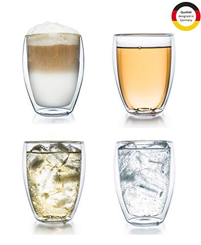 Creano doppelwandiges Thermoglas 250ml 'DG-Hoch', 4er Set, großes hitzebeständiges Trinkglas aus Borosilikatglas, Kaffee-/Teeglas