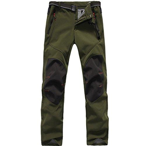 FLYGAGA Herren Wasserdicht Winddicht Fleecefutter Softshellhose Funktions Outdoor Sport Klettern Camping Wandern Hosen (Large, Armeegrün)