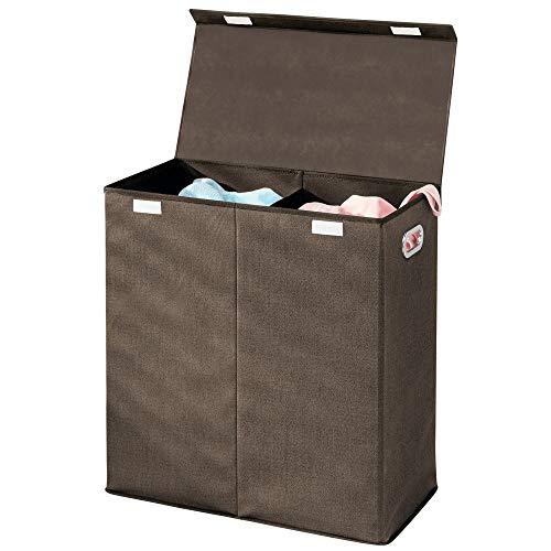 mDesign Wäschetruhe aus atmungsaktivem Polypropylen mit 2 Fächern - Design Wäschekorb für Waschküche, Bad oder Schlafzimmer - faltbare Wäschetonne mit Deckel und Griff - dunkelbraun