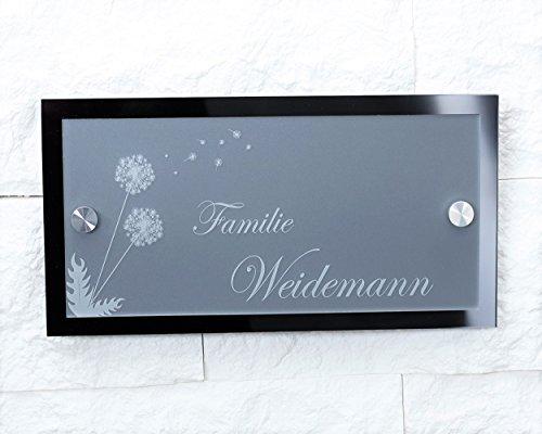 Namensschild / Hausnummer mit Gravur aus Acrylglas 23x12cm - Lasergravur (kein Druck) Geschenkidee Türschild mit Namen Familien-haus / Garten / schöner wohnen / Namen / Haustür / Türschilder