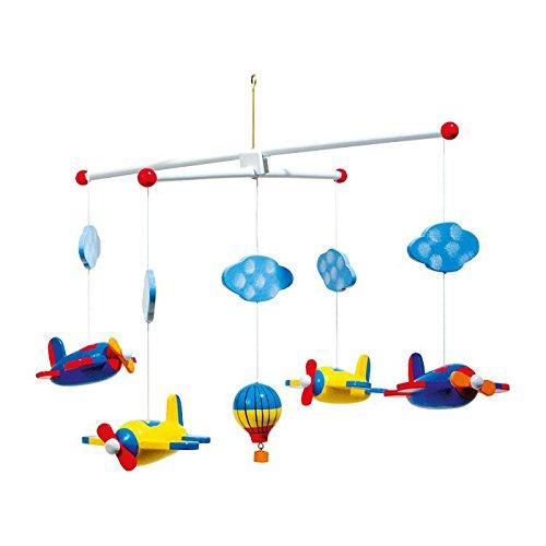 Mobile 'Luftfahrt' aus Holz, bunt lackierte Flugzeuge, Wölkchen und ein Heißluftballon sorgen von Geburt an für Spaß, Ablenkung und Entspannung