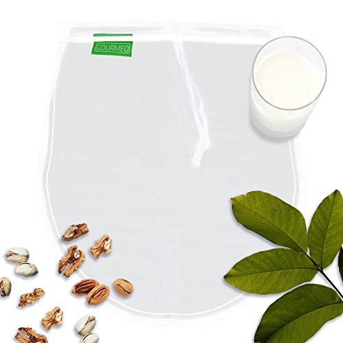 GOURMEO Nussmilchbeutel aus 100% Nylon für vegane Nussmilch & Mandelmilch I 2 Jahre Zufriedenheitsgarantie | Feinmaschiges Filtertuch, Seiher, Passiertuch