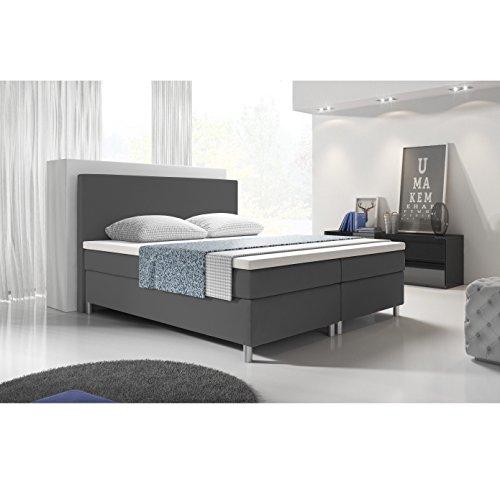 'Eco' Boxspringbett 140x200 / Bett / Doppelbett / Hotelbett / Designerbett / Kunstleder grau
