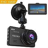 VKUSRA Dashcam Full HD 1080P Autokamera mit 170° Weitwinkelobjektiv, 3 Zoll LCD-Bildschirm, WDR, Bewegungserkennung, Loop-Aufnahme, Nachtsicht, Parkmonitor und G-Sensor