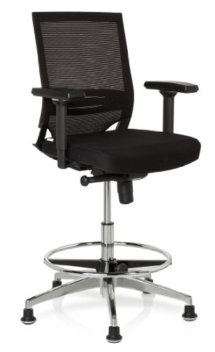 hjh OFFICE 657550 Arbeitsstuhl Counterstuhl TOP WORK 77 Polster / Netzstoff schwarz, Arbeitsstuhl hoch, pflegeleichter Sitz, ergonomischer Bürostuhl, mit Armlehnen, Drehstuhl, leicht zu reinigen, Stehhilfe, Bürostuhl