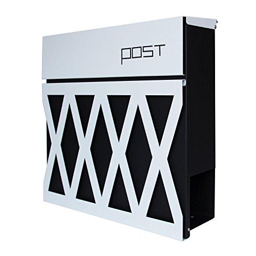 LZQ Modern Neu Design-Briefkasten Gebürstetes Edelstahl Postkasten mit Zeitungsfach, Anthrazit Postkasten, Wandbriefkasten Postkasten mit Zeitungsrolle (Modell Ⅲ, A)