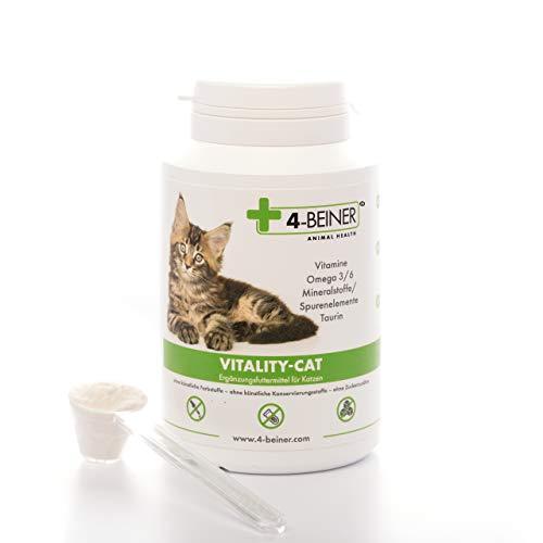 4-Beiner VITALY-CAT, wohltuende Katzen Vitamine + Omega 3/6 + Mineralstoffe + Taurin zur Vorbeugung, Stärkung & Regeneration, ideal als Katzen Ergänzungsfutter bei BARF Fütterung (Barfen), Vital-Pulver (90 g) für Katzen