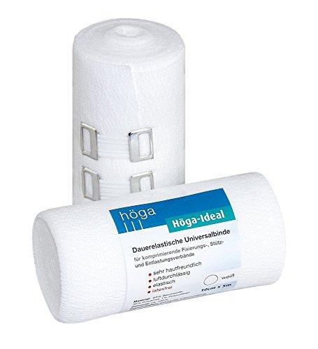 Höga Ideal, dauerelastische Universalbinde, 10 cm x 5 m gedehnt, sehr hautfreundlich, luftdurchlässig, elastisch, 2er-Pack.