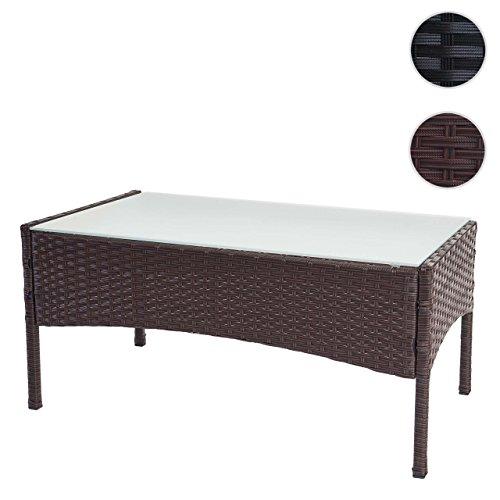 Mendler Poly-Rattan Gartentisch Halden, Beistelltisch Tisch mit Glasplatte ~ braun-meliert