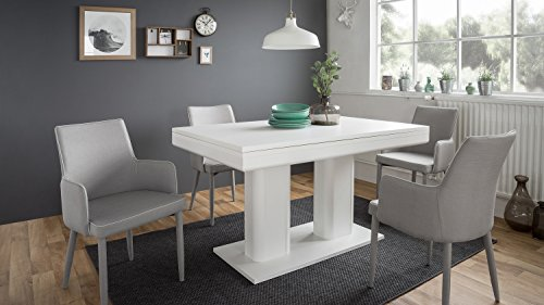 Möbel Akut Esstisch Heidelberg Tisch weiß ausziehbar 140-220 x 90 cm 2 Einlegeplatten