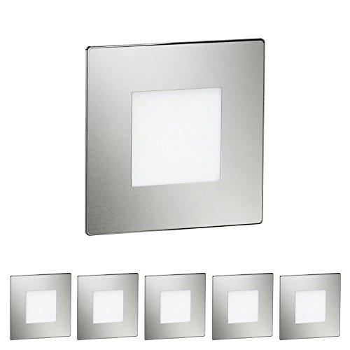 ledscom.de LED Treppen-Licht Stufenbeleuchtung, eckig, 8x8cm, 230V, warm-weiß, 6 Stk.