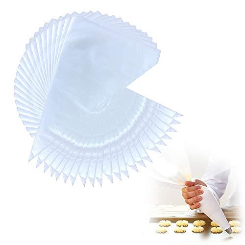 Ealicere 100 Stück Profi Einweg-Spritzbeutel aus Kunststoff zum Dekorieren von Gebäck oder Torten geeignet für Adapter und alle Spritzdüsen-Sets (Spritzbeutel)