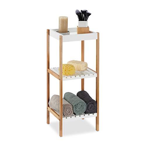 Relaxdays Badregal mit 3 Ablagen, freistehend, Standregal offen, Bambus, MDF, ohne Bohren, HBT: 72x30x29 cm, Natur/weiß