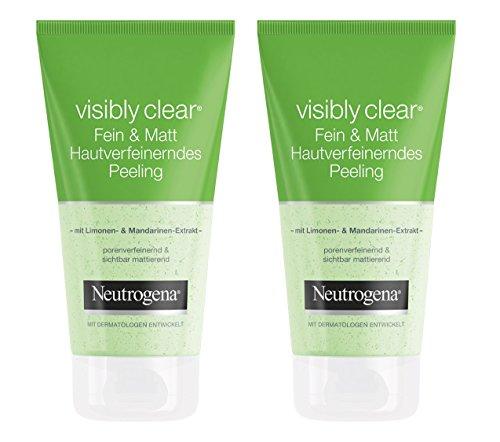 Neutrogena Visibly Clear Fein & Matt Hautverfeinerndes Peeling / Porenbefreiendes und mattierendes Waschpeeling mit Limone und Mandarinen-Extrakt / 2 x 150ml