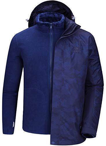 CAMEL CROWN Skijacken Herren Winterjacke Wanderjacke Regenjacken Full Zip mit Fleece-Futter mit Winddicht Wasserdicht Für Outdoor Camping Bergsteigen Wander