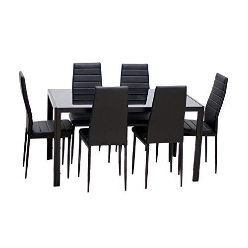 Esstisch Stuhl Set Essgruppe Tischgruppe Esstischgruppe Sitzgruppe Esszimmergarnitur Glas Metall Esstisch (Schwarz, Tisch mit 6 Stühle)