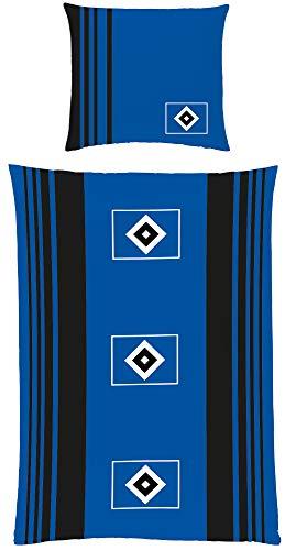 HSV Bettwäsche Raute schwarz weiß blau 135 x 200 cm + 80 x 80 cm Fan-Bettwäsche Fussball-Bettwäsche Hamburger SV Sportverein Hamburg Volksparkstadion Kinder-Fußball-Bettwäsche - deutsche Größe