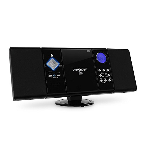 oneConcept V-12-BT • Stereoanlage • Kompaktanlage • Microanlage • Bluetooth-Schnittstelle • MP3-fähiger CD-Player • USB-Port • UKW/MW-Radiotuner • 20 Senderspeicher • AUX-In • Fernbedienung • Pianolack-Finish • Wandmontage möglich • schwarz