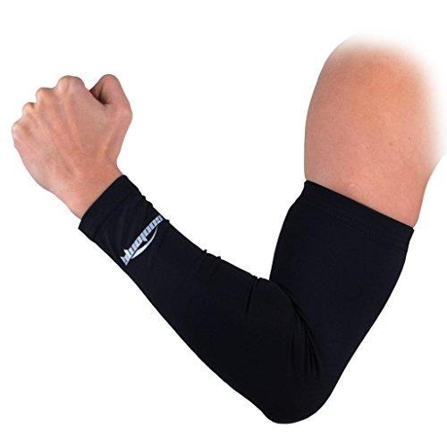 COOLOMG Anti UV Armschoner Arm Sleeve Anti Rutsh für Erwachsene Kinder Sports Basketball Power Shootor Schwarz XXS 1 Stück