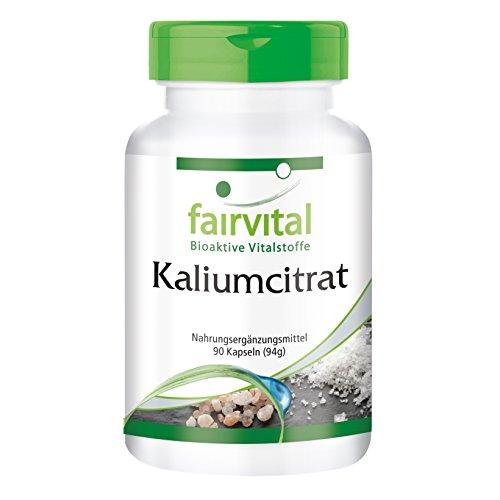 Kaliumcitrat - 90 vegane Kapseln - 300mg Kalium pro Kapsel - für Nervensystem, Muskelfunktion und Wasserhaushalt