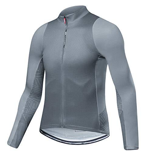 Santic Fahrradtrikot Herren Langarm Radtrikot Winter Fahrradshirt Herren Atmungsaktiv mit Taschen Grau EU XL