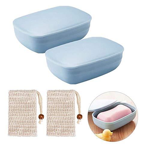 Queta Seifendose, 2 Stück Seifenschalen Box mit Abdeckung and 2 Stück Seifensäckchen Sisa für Badezimmer Reise