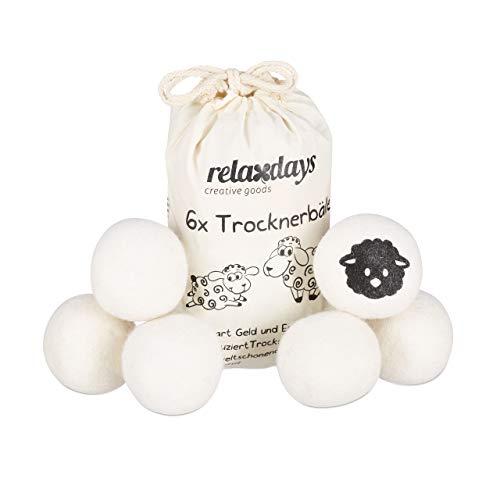 Relaxdays Trocknerbälle XXL, 6 Trocknerkugeln, Filzbälle für Trockner, aus Schafswolle, umweltschonend, Ø 7 cm, weiß