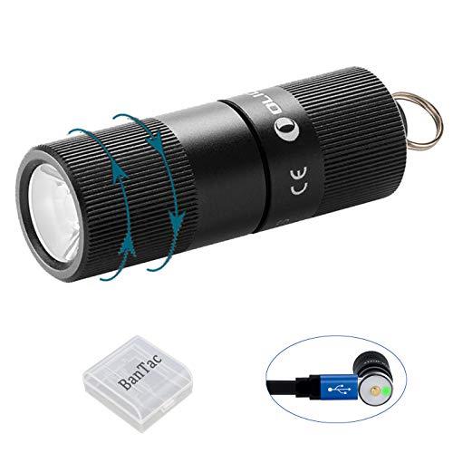 Olight I1R EOS Schlüsselanhänger Taschenlampen Taschenlampe, 130 Lumen LUXEON TX LED Tiny Wiederaufladbare LED Schlüsselanhänger Taschenlampe, für Outdoor & Home + BanTac Batteriefach