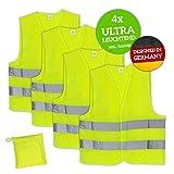 Huckleberry Home Premium Warnweste 4er Pack Neon Gelb Ultra reflektierende Sicherheitsweste für Pannen mit dem Auto – Atmungsaktive und hochwertige Laufweste für Joggen, Fahrrad mit hoher Sichtbarkeit