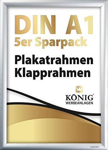 5 Plakatrahmen DIN A1 | 25mm Aluminium Profil, Silber | inkl. entspiegelter Schutzscheibe und Befestigungsmaterial | Alu Klapprahmen Wechselrahmen Posterrahmen | 5er Sparpack | Dreifke