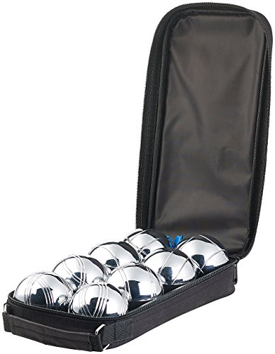 PEARL Kinder Boccia-Ball: Boule- & Boccia-Spiel: 8 Metall-, 1 Holz-Kugel, Abstandsmesser, Tasche (Seaside Ball throwing Game)
